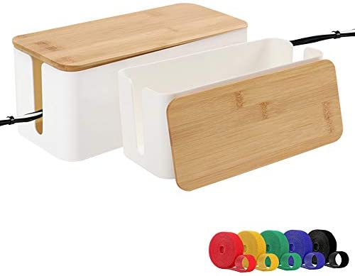 Cable Management Boxes Organizer Bamboo Lid Large Storage Wires Keeper Holder for Desk TV Computer product image