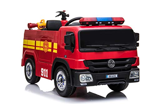 JAXPETY Fire Truck Kids Ride On Toy 12V Battery Powered Electric Vehicle w/Remote Control, Water Gun