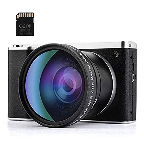 Cámara digital 24MP FHD 1080P Cámara compacta para mochileros con pantalla táctil LCD de 4.0 pulgadas Zoom digital 8X Lente gran angular Cámara mínima para fotografía Tarjeta SD de 32GB incluida
