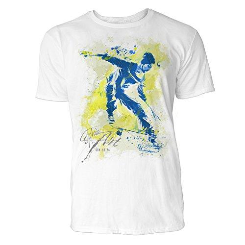 Skateboarder Sinus Art ® Herren T Shirt (Weiss) Crewneck Tee with Frontartwork