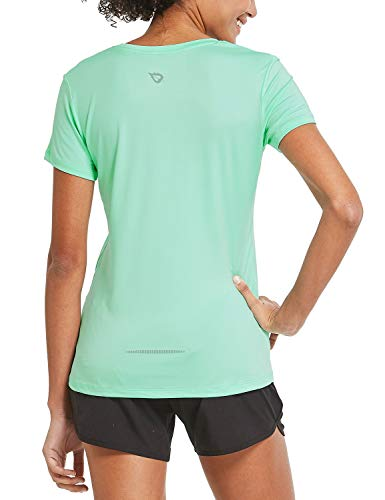 BALEAF Women's Athletic Short-Sleeved Sports Running T-Shirts Lightweight Quick Dry Workout Yoga Crewneck Tops Aqua Size XL