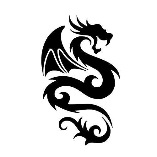 Chinesische glückverheißende Drachen geflügelte Stammes-Drachen-Kunst-Wandaufkleber für Wohnzimmer-Silhouette Vinyl-Kunst-Wandtattoos Wohnkultur 58 * 96 cm