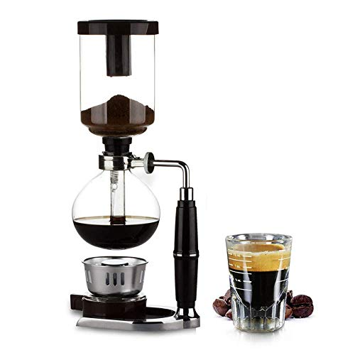 Siphon Coffee Machine Pot, Home DIY Syphon Filter Manual 5 Cup Vacuum Glass Coffee Maker, Brewer for Coffee Beans Best, 500ML, Black RMCX