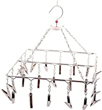 Perfect Life Ideas 25 Drying Clip Hanger Rack Square Stainless Steel with Pegs Clips Hanger Hooks Pegs for Clothes Undergarments Socks Ties Baby Clothes - 25 Clips Peg