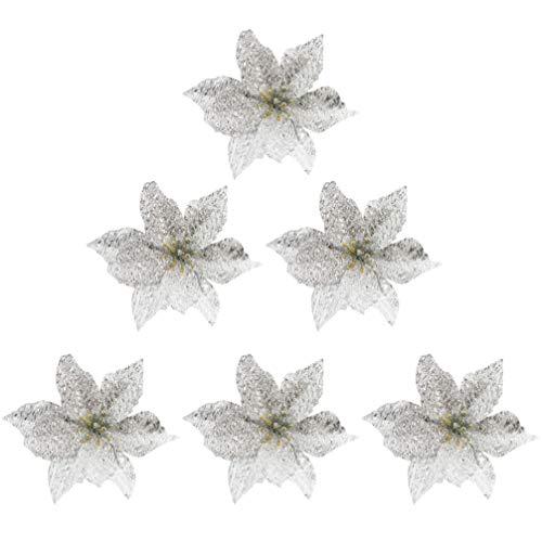 STOBOK 6Pcs Glitter Artificiais de Flores de Poinsétia de Natal Enfeites de Decoração de Árvore de Natal para Diy Guirlanda de Prata