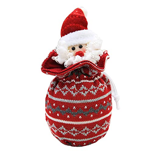 WYDM Bolsa de Navidad de Punto Santa Claus Muñeco de Nieve Reno Oso Bolsa de Dulces Bolsa de Regalo Decoración navideña para Vitrina de Chimenea de árbol