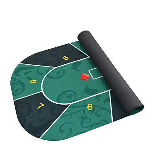 moonship Tapete Cartas Poker - 120x60cm Alfombra Tapete Texas Hold'em, Portátil Tapete De Mesa De Póquer con Fondo De Goma Y Superficie De Franela, Verde/Azul