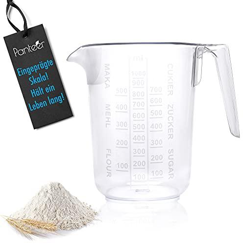 Panteer  Vaso medidor de 1 l, escala grabada, insoluble y apto para lavavajillas, ideal como utensilios de cocina y accesorios para hornear (1 juego)