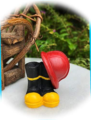 New Fairy Garden Miniature Fire Fighter Fireman Helmet and Boots Dollhouse Magic Scene Supplies Accessories Na-0515F