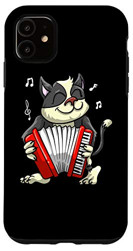 iPhone 11 Funny Cat Playing Accordion | Cool Musician Harmonium Gift Case