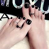 Handcess Uñas cuadradas brillantes para dedos de los pies, cortas, negras, falsas, para uñas, cubierta completa, puntas artificiales para uñas para mujeres y niñas (24 piezas)