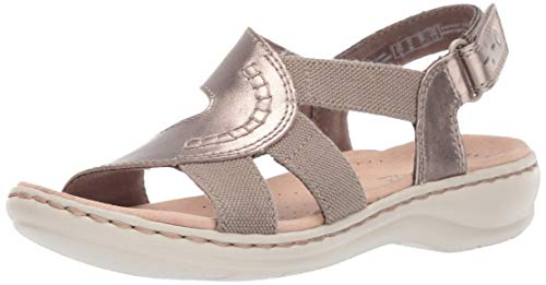 Clarks Women's Leisa Joy Sandal, Pewter Metallic Leather Textile, 070 M US