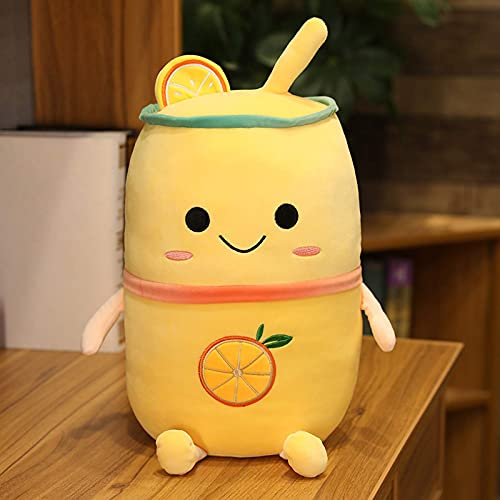 TNSYGSB Té de burbujas de té de peluche colorido botella de bebida de felpa aguacate, fresa, limón, comida Plushie, regalo para niños, 50 cm, felpa Minecraft (color: amarillo, tamaño: 50 cm)