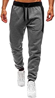 Usstore  Men Boys Exercise Sweatpants Casual Mandatory Sports Overalls Zipper Pocket Loose Straight Work Daily Trouser Pants