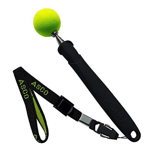 ASCO Target Stick mit Stretch-Armband für Hunde Katzen Pferde, Clicker-Training und Erziehung, Edelstahl Target, Teleskop-Funktion 17-73 cm, schwarz AC01TS