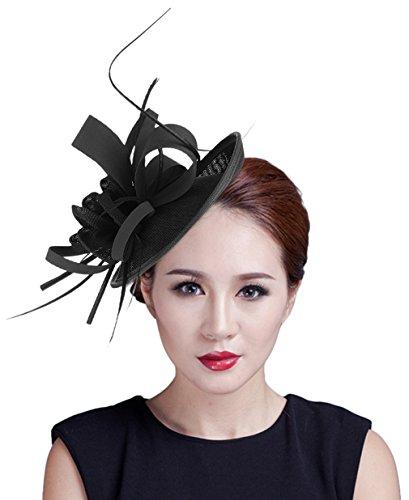EOZY Mujer Tocado de Pelo Sombrero Vintage Negro
