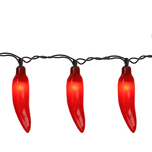 35-Count Red Chili Pepper Patio String Light Set- 22.5 ft Brown Wire