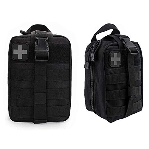 FIRECLUB Compact Tactical MOLLE Rip-Away EMT Medical First Aid Utility Pouch 1000D Nylon Carlebben for hiking, biking, rock climbing, hunting, sports (Black)