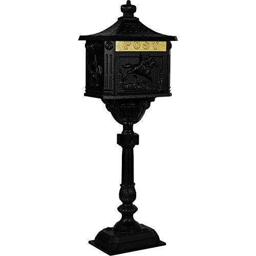 Maxstore Antiker Standbriefkasten aus rostfreiem Aluminium Briefkasten Postkasten groß antik Höhe 111 cm detailreiche Verzierungen 4 Farbvarianten Anthrazit