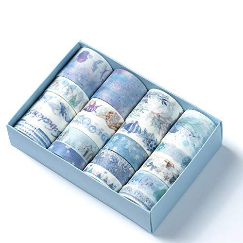Comius Sharp 20 Rolls Cinta Adhesiva Decorativa Colección de Flores para DIY Artes y Artesanías, Decoración de La Habitación, Tarjetas, Scrapbook (Azul)