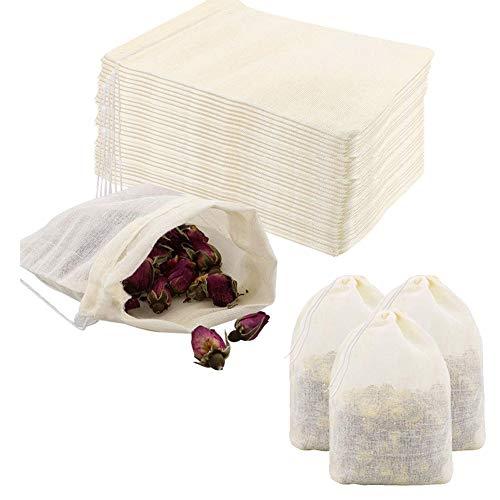 Pveath 60 Stück Baumwollbeutel Set, 10x15cm Stoffbeutel Klein mit Kordelzug, Wiederverwendbare Baumwolltasche Stofftaschen Jutebeutel für Hochzeit Party Mitbringsel DIY Handwerk Blatt Tee