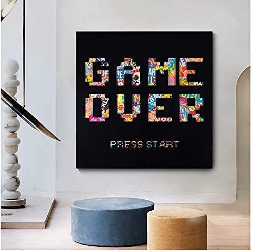 Graffiti Game Over Poster Impresión de imágenes de pared para la sala de estar Decoración del hogar AnimalesArte Carta Impresiones en lienzo(60X60Cm) -24x24 Pulgadas Sin marco