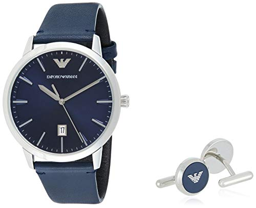 Emporio Armani Herren Analog Quarz Uhr mit Leder Armband AR80032