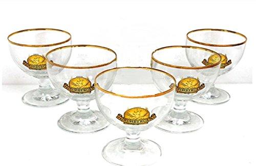 Grimbergen Gläser 5x0,5l Biergläser mit Goldrand ~mn 492 6i2m