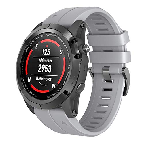 ANBEST Pulsera de Silicona Compatible con Garmin Fenix 6X/Fenix 5X/Fenix 6X Pro Correa, 26mm Liberación Rápida Pulsera para Fenix 5X Plus/Fenix 3/Fenix 3 HR Smart Watch, Gris