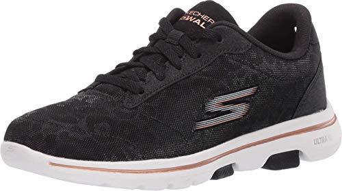Skechers GO Walk 5 Wild, Zapatillas para Mujer, Negro Negro Negro Textil Ribete Oro Bkgd, 40 EU
