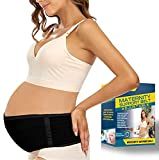 Pregnancy Belly Band Maternity Belt Back Support Abdominal Binder Back Brace - Relieve Back, Pelvic, Hip Pain for Pregnancy Recovery(Black,One Size)
