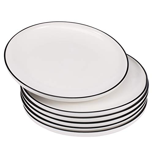 EAMATE 10 Inch Porcelain Dinner Plate - Classic Round White Serving Plate with Black Border - for Salad, Fruit, Steak, Pasta - Set of 6