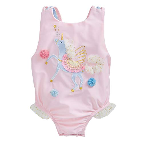 Mud Pie Girls' Unicorn Swimsuit, Pink, 3-6 Months