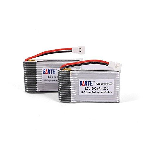 BAKTH 2 Paquetes genéricos 3.7V 600mAh 25C Lipo batería x5C Syma X 5