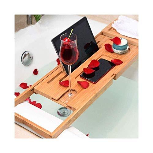 XHLLX Caddy bañera de bambú - Tableta, Bandeja de teléfono móvil, Soporte de Vidrio de Vino, Estante de Toalla, Vela, colocación