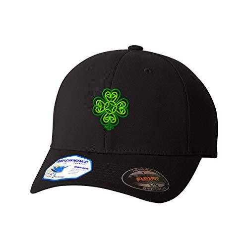 Flexfit Baseball Cap Celtic Shamrock Symbole Embroidery Design Polyester Hat Elastic Black Large/X Large Design Only