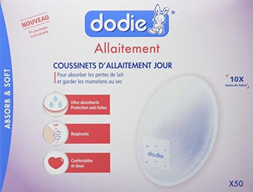 Dodie- Coussinets d'allaitement Jour en pochette individuelle- Boîte de 50