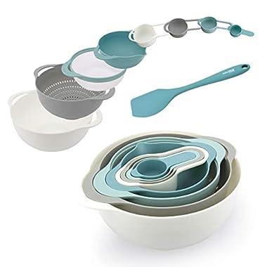 KALREDE Plastic Mixing Bowls – Mixing Bowl Set of 9 – BPA Free Nesting & Stackable Bowls Set Including Measuring Cups, Colander, Sifter, Large Bowls – Bonus a Silicone Spatula