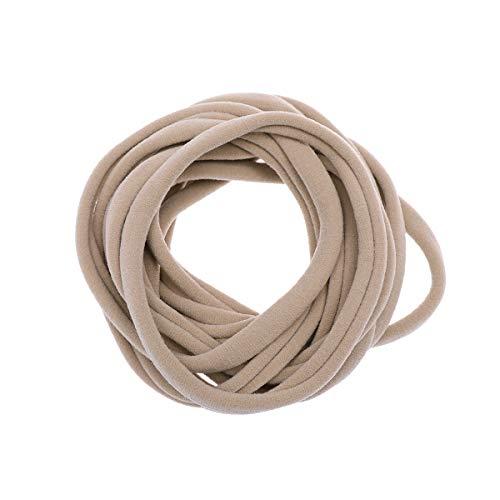 Lurrose 20pcs banda para el cabello de tela diadema de nylon elástica de color caqui diadema suave y simple para niñas pequeñas