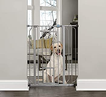 Carlson Extra Tall Walk Through Pet Gate with Small Pet Door Includes 4-Inch Extension Kit 4 Pack Pressure Mount Kit and 4 Pack Wall Mount Kit Platinum