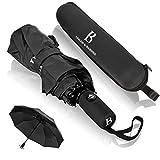 Regenschirm sturmfest bis 140 km/h - Taschenschirm mit zertifizierter Teflon-Beschichtung gegen Feuchtigkeitsschäden - LOGAN & BARNES - Modell Boston
