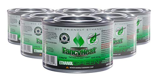Fancy Heat Eco-Friendly GREEN Ethanol Chafing Dish Fuel Burns Very Hot for 2.5 Hours - 6 Pack