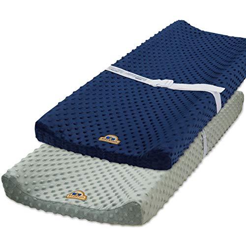 BlueSnail Ultra Soft Minky Dot Chaning Pad Cover 2 Pack (Gray+Navy, 2 Pack)