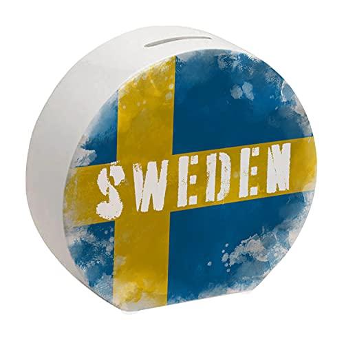 Spardose mit Schweden-Flagge im Used Erscheinungsbild - Sparschwein für Urlauber eine schöne Sparbüchse mit der schwedischen Nationalflagge verziert um auf die Reise nach Schweden zu sparen