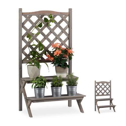 Relaxdays Blumentreppe mit Rankgitter, Blumenregal mit 2 Stufen, Pflanzentreppe Holz für Blumen, HBT: 109x61x40 cm, grau