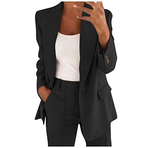 Buetory Womens Casual Blazers Long Sleeve Open Front Work Office Stretchy Suit Jackets Cardigans Coats Plus Size(Black,X-Large)
