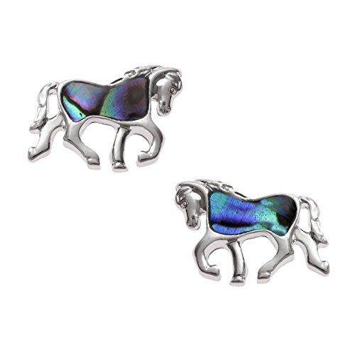 Kiara joyas caballo Stud Pendientes con incrustaciones natural de Azul Verdoso Paua abulón., resistente a las manchas color plateado hipoalergénico chapado en rodio.