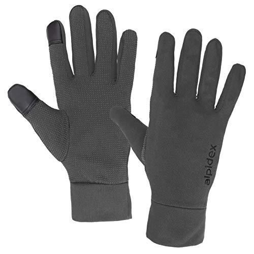 ALPIDEX Leichte Sporthandschuhe Laufhandschuhe WÅRM ÅP Running Handschuhe Unisex Sport Handschuhe Nordic Walking Handschuhe für Damen und Herren mit Touchscreen-Funktion, Größe:S, Farbe:Grey