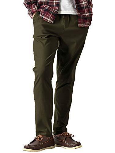 (アローナ)ARONA 防寒 スーパーストレッチパンツ 暖か 裏起毛 チノパン メンズ パンツ 冬 イージーパンツ ゴルフ ゴルフウェア ゴルフパンツ/YC 10分丈Aカーキ LL