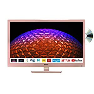 Sharp 1T-C24BE0KR1FR (24BE0KR) 24 Inch HD Ready LED Smart TV with Freeview Play, Built-in DVD player, 2 x HDMI, SCART, USB Media Player – Rose Gold